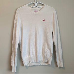 True Religion Cream V-Neck Sweater With Logo
